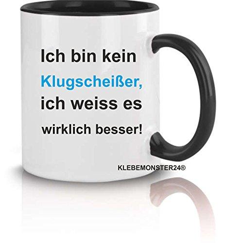 Tasse Schwarz voll mit Spruch: