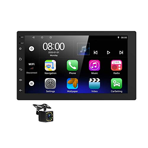 Podofo Android Car Stereo Double Din 7 Inch Touchscreen Car Radio 2G+32G Support GPS Navigation Split Screen Bluetooth FM WiFi Dual USB Mirror Link+ Backup Camera