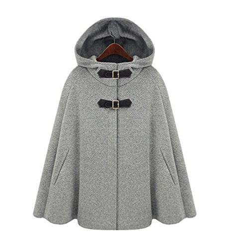 Damen Faux Wollmantel Poncho Winter Cape Peacoat mit Kapuze Mäntel Jacke XL Grau