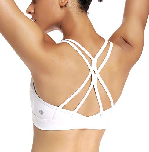 RUNNING GIRL Strappy Sports Bra for Women Sexy Crisscross Back Light Support Yoga Bra with Removable Cups (White, CN:XXL/US:XL【Fit for 38D 38C 40B 40A】)
