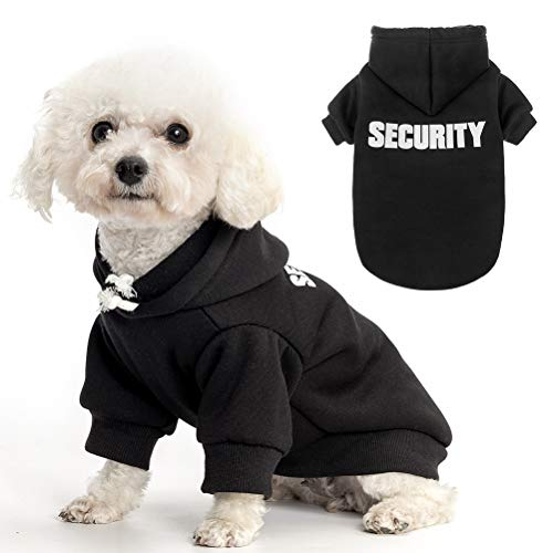 Dog Hoodie Pet Clothes - Security Printed Pet Sweaters with Hat Soft Cotton Coat Winter for Small Medium Large Dogs Cats