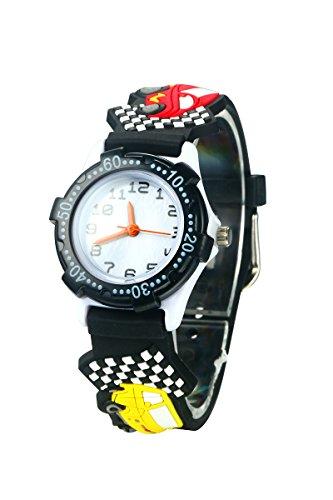 El Reloj de Niños de Vinmori, Reloj de Cuarzo con Dibujos Animados Bonitos de 3D a Prueba de Agua Regalo para Chicos Niños y Niñas Coche-Negro