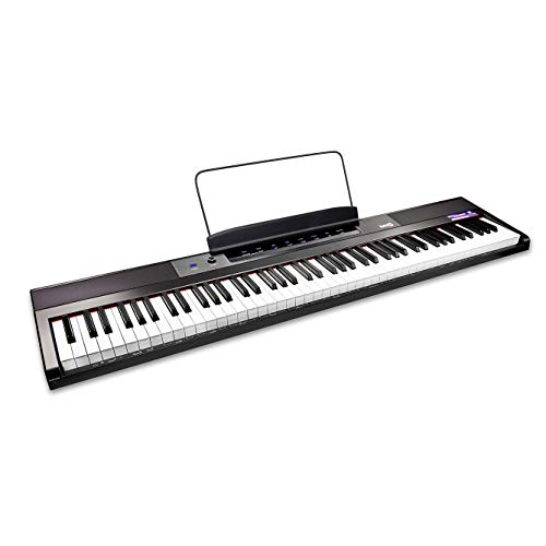 RockJam 88-Key Beginner Digital Piano with Full-Size Semi-Weighted Keys, Power Supply, Simply Piano App Content & Key Note Stickers, Black