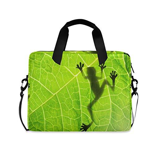 JNlover Laptoptasche mit tropischen Blättern, Frosch, 16 Zoll (40,6 cm), tragbare Hülle, Aktentasche, Laptoptasche, Notebook, Computer, Tragetasche für Damen und Herren