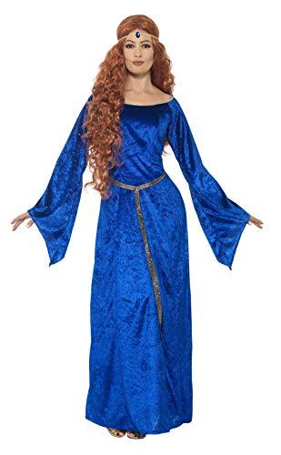 Smiffys 44683S Déguisement Femme Demoiselle Médiévale, Bleu, Taille S