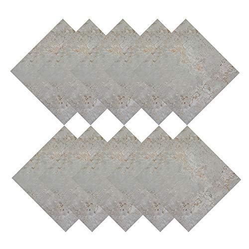 10 hojas de pegatinas para azulejos de mármol, impermeables, despegables y pegados, papel pintado, para cocina, baño, decoración del hogar (gris claro, 12 pulgadas)