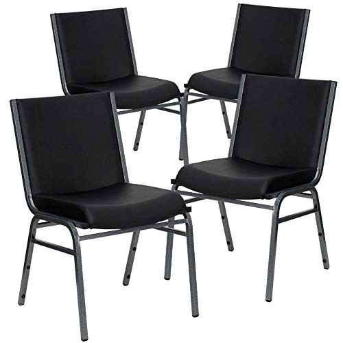 Flash Furniture 4-XU-60153-BK-VYL-GG  4 Pk. HERCULES Series Heavy Duty Black Vinyl Stack Chair