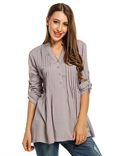 Zeagoo Damen V-Ausschnitt Bluse Longbluse Blusenshirt Tunika Schlupfbluse mit Wickeloptik Grau XL