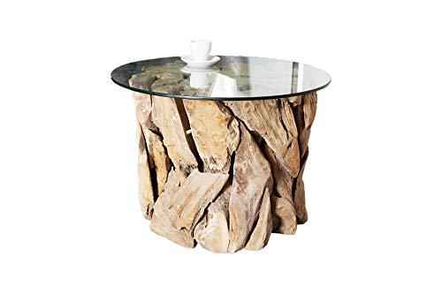DuNord Design Couchtisch Treibholz Glastisch Glas Holz Tisch 60cm rund TEAK LOUNGE Massivholz