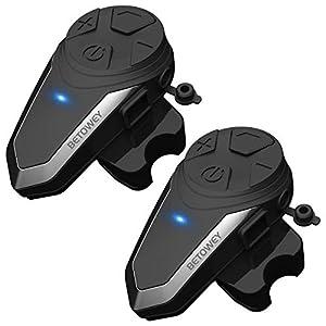 Interfono Moto Bluetooth Coppia BETOWEY BT-S3 Interphone con Auricolari Bluetooth per Casco Moto