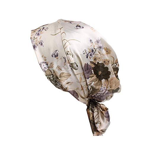 Bigood Femme Chapeau Nœud Papillon Satin Bonnet Perte de Cheveux Cancer Chimio Léopard