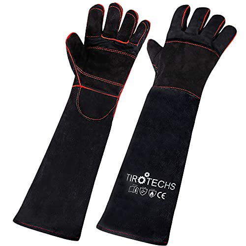 TIROTECHS Kevlar Animal Handling Gloves Protective Bite Proof Gloves for Training Dogs Cats Birds Reptiles - Bite Resistant Gloves (16 Inch, Red)