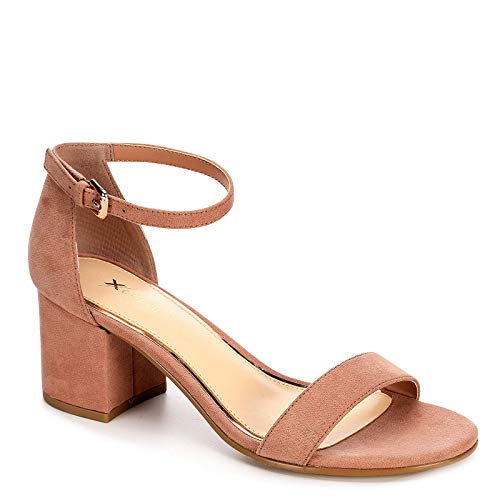 XAPPEAL Womens Harlow Block Heel Dress Sandal Shoes, Blush, US 9