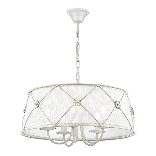 Lámpara colgante, estillo classico, rustico,lampara de techo, de metal color blanca, pantalla...