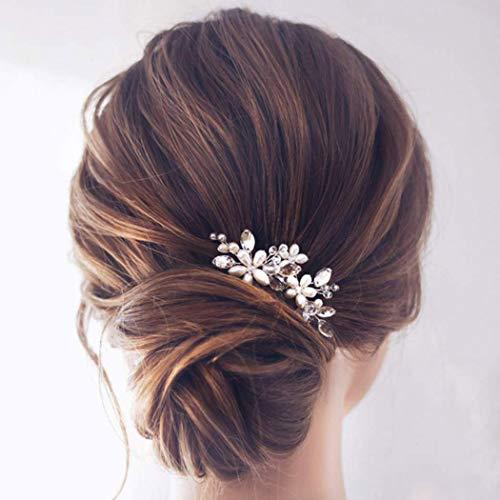 Jakawin Bride Wedding Pearl Hair Pins Bridal Hair Accessories Silver Hair Piece for Women and Girls...