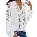 N\P Mujeres Blusas Otoño Blusas Sexy V-cuello Encaje manga larga mujeres Camisas
