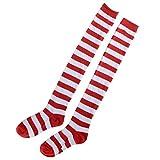 Amosfun Medias de rayas rojas y blancas de Navidad sobre calcetines hasta la rodilla para mujeres niñas Tamaño libre