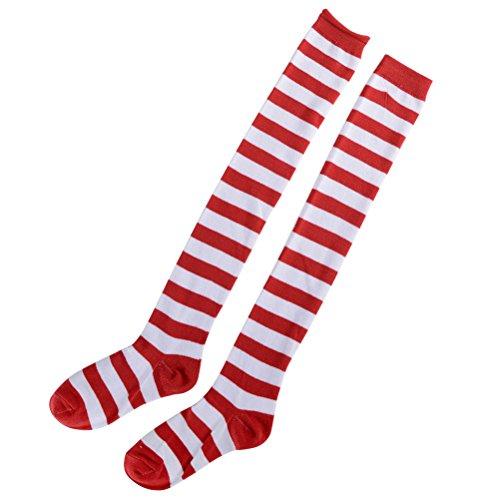 Amosfun Medias de rayas rojas y blancas de Navidad sobre