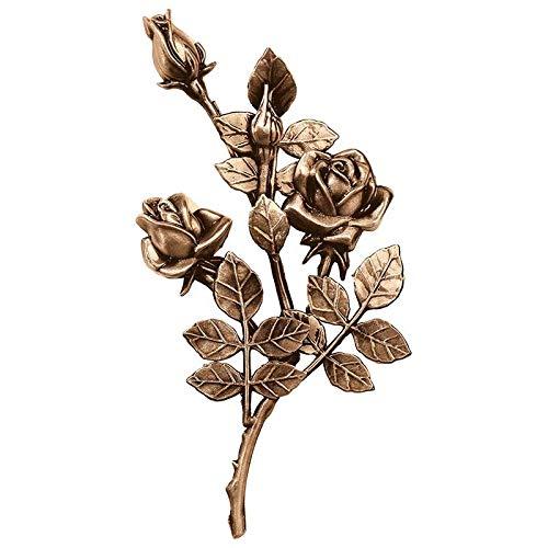 AmazinGrave - Dekorative Zweige und Messing Blumen für Bestattungs Dekoration - Ornament für Grabstein 30x16cm - Grabschmuck Bronze 3745-DX