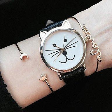 Fenkoo Kitty, orologio da polso da donna con gatto, cinturino di cuoio, gioielli, accessori, nero