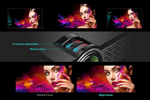 TOPTRO - Proyector de vídeo, pequeño, portátil, 5500 lm, compatible con Full HD 1080p, retroproyector LCD con altavoz de alta fidelidad, cubierta de metal, led de 60 000 horas, cine en casa miniatura