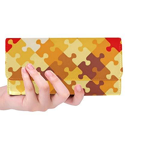 Único Personalizado Otoño Colores Jigsaw Puzzle ed Mujeres Monedero Monedero Largo Monedero Titular de la Tarjeta de Crédito Caso Bolso