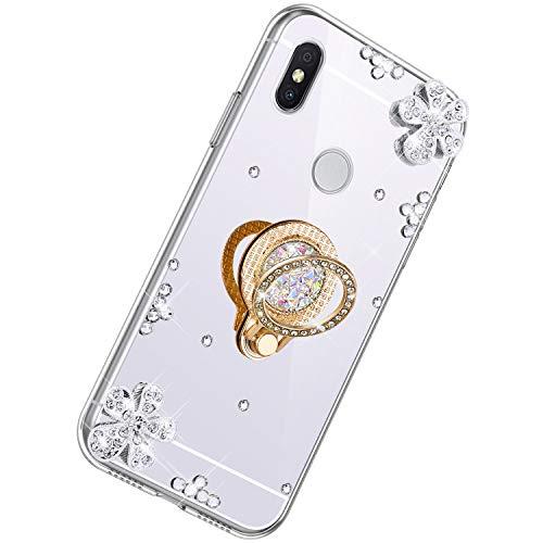 Herbests Cover Specchio per Xiaomi Redmi S2 Sottile Custodia Silicone Glitter Bling Diamante Brillante con Anello Supporto Cover TPU Silicone Protettiva Morbido Case, Argento