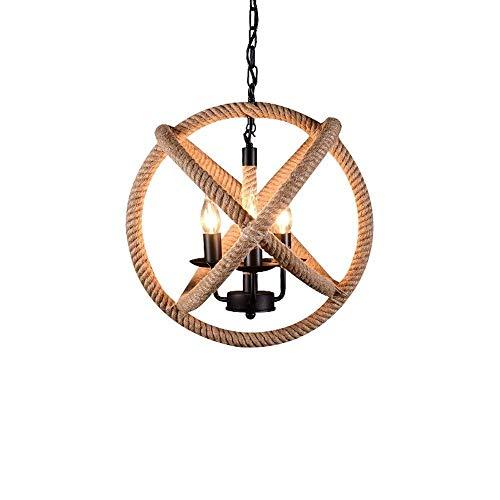 ZCCLCH Vintage Cuerda de cáñamo de 3 Luces con lámpara Colgante 14 del Bulbo de la lámpara Industrial Retro del Estilo del Metal Cuerda del cáñamo Globo Jaula Redonda del Accesorio Pendiente de la lu