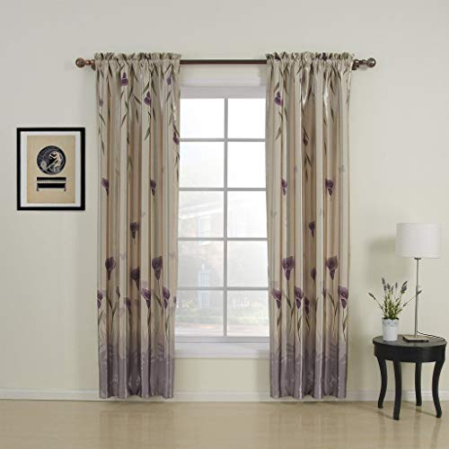 MICHELE HOME FASHION 50' W x 63' L (One Panel) 20 Country Rustic Polyester Purple Floral Blackout Curtains Double Pleated Curtains Window Treatment Draperies & Curtains Panels