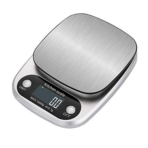 Báscula Digital De Cocina,Pantalla LCD Retroiluminada De Cocina Digital De Acero Inoxidable, Superficie De Escala Impermeable De Alta Precisión, 5000g d=0.1g