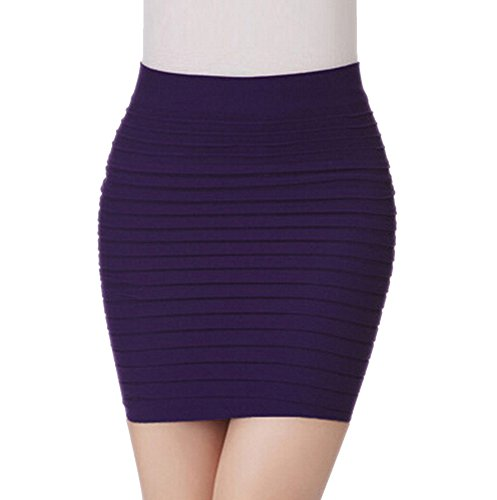GGTFA Pleated Stretch Eng Hüft Mini Bleistift Rock Business Tragen Lila
