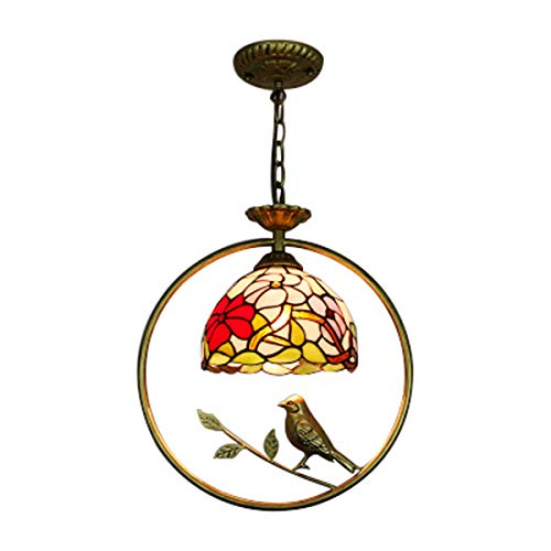 LITFAD Floral Pendant Lamp with Bird Tiffany Stained Glass 1...
