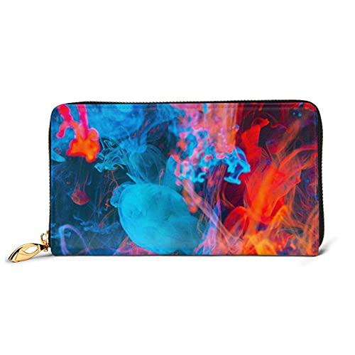 Pintar líquido abstracto colorido espesar señoras bolso grande con múltiples ranuras para tarjetas capacidad cartera de cuero mujer cartera largo embrague