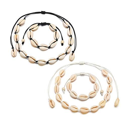 Gobesty Set composto da collana e bracciale con conchiglia naturale regolabile, fatti a mano, per donne e ragazze, 4 pezzi