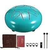 Tambor de lengua de acero de 15,24 cm TiooDre 8 Tune Hang Drum Instrument Major 8 sonidos con 2 baquetas 4 funda de dedos y pegatina, tambor de percusión para yoga Zazen Meditación