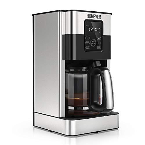 Homever Cafetera de Goteo Programable de Acero Inoxidable, 1.8 L(15 Tazas), con Pantalla LCD, Tiempo de Preparación Preestablecido, Función de Aroma y Limpieza Automatica, Mantener la Función Caliente