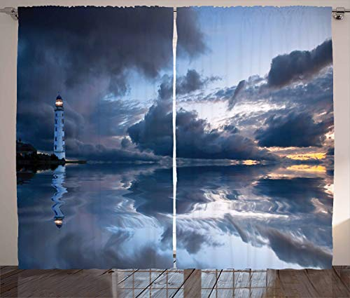 Ambesonne Lighthouse Decor Collection, Lighthouse Sailing Dark Clouds Reflection on Atlantic Ocean Rainy Weather Shadow Image, Living Room Bedroom Curtain 2 Panels Set, 108 X 84 Inches, Blue Gray