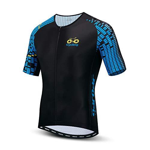 Maglia da ciclismo da uomo, a maniche corte, con 4 tasche posteriori, traspirante, ad asciugatura rapida, S-3XL, Uomo, 29, Tag XXLforChest43.3-45.7'