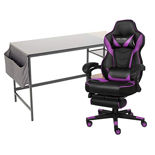 ELECWISH Computer Desk and Racing Chair Set with Detachable Storage Shelf, Headphone Hook and Storage Bag Gaming Home Office Furniture Sets (Purple, X10)