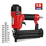 "WORKPRO 18-Gauge Pneumatic Brad Nailer, Compatible with 3/8"" up to 2"" Nails, Depth Adjustment..."