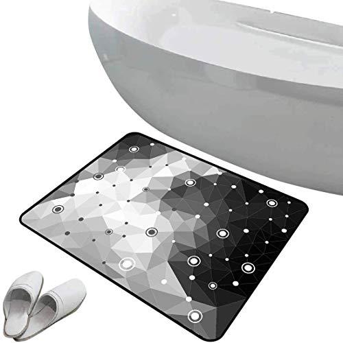 Tapis de bain antidérapant Paillasson Noir et gris sol antidérapant en caoutchouc Motif triangulaire polygonal à pois et cercles Art contemporain inspiré,gris pâle noir,,Intérieur/Extérieur/Porte d'en