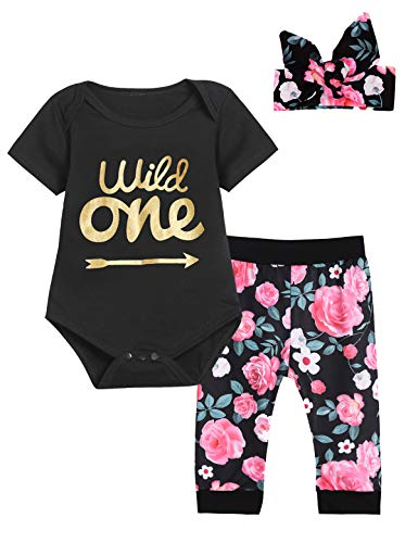 Truly One 3PCS Wild One Outfit Set Baby Girls First Birthday Floral Tops + Pants + Headband (Black-Short Sleeve,12-18 Months)