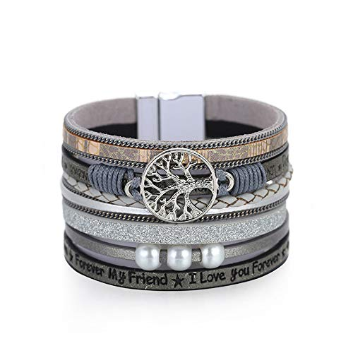 Tree of Life Leather Cuff Bracelet Wrap Bangle Boho Bracelets with Pearl for Women Gifts (Brown Cuff Bracelet) (Gray)