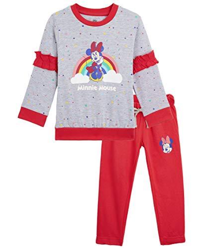 Disney Minnie Tuta Bambina, Completo con Felpa Topolina E Pantaloni Felpati, Abbigliamento Sportivo Bimba, Tute Ginnastica Leggings Joggers Cotone, Re