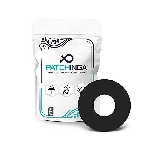 PATCHINGA | 25x Freestyle Libre 1 & 2 Pflaster, offene Mitte, CGM Sensor Patch, Fixierung, Tape, selbstklebend, wasserfest, hautfreundlich, haltet bis zu 10 Tage - Erhältlich in 4 Farben (schwarz)