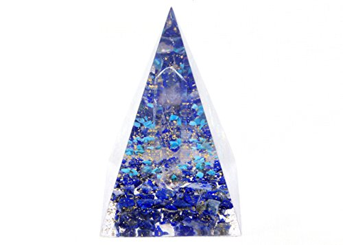 Orgonite Orgone Pyramid - Energy Generator - Creativity - Crystal Gemstone - Quartz Lapis Lazuli - Powerful Healing Tool