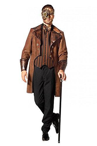 shoperama Brauner Steampunk Herren Mantel mit Schlangenmuster und gestreifte Weste Kostüm Jacke viktorianisch hochwertig, Größe:52