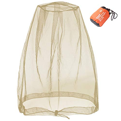 Cinvo Head Net Hat Bug Net Face Netting for Bugs No See Ums Insects Gnats Biting Midges from Outdoor Activities, Works Over Most Hats Comes with Free Stock Pouches, Khaki