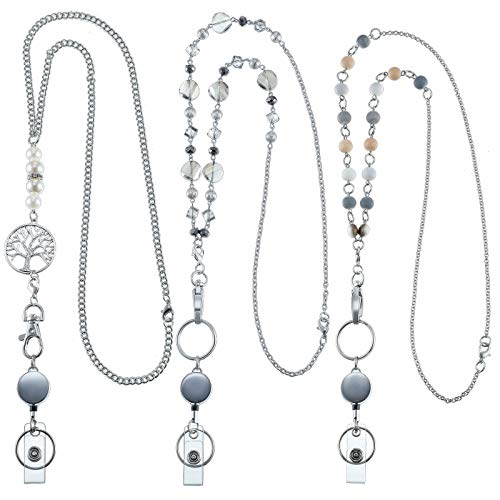 3 Pieces Retractable Badge Reel Lanyard with ID Holder Set, Necklace Name Badge Holder Lanyard Stainless Steel Beaded Chain with Waterproof Name Badge Holder Clip for Woman Girl Office