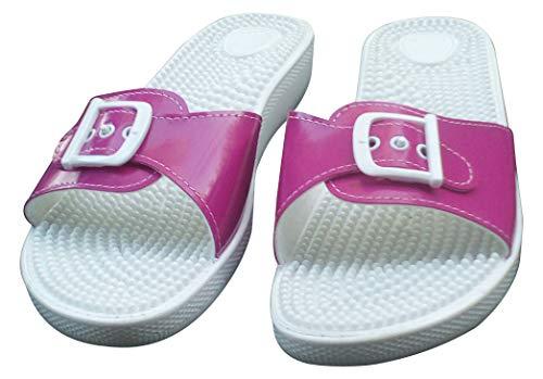 Sanitaria Damen Massage Pantolette, Badeschuh, Saunaschuh (36, weiß) (38 EU, Pink)